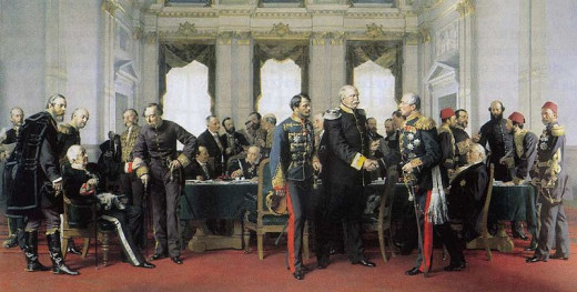 Anton von Werner, Congress of Berlin (1881): Final meeting at the Reich Chancellery on 13 July 1878, Bismarck between Gyula Andrássy and Pyotr Shuvalov, on the left Alajos Károlyi, Alexander Gorchakov and Benjamin Disraeli