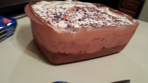 """Homemade Ice Cream """"Cake"""". Layer of one ice cream.  Layer of crushed cookies mixed with liquid chocolate """"shell"""" that will harden when cooled. Layer of second ice cream.  Top with whipped cream and sprinkles if desired.  $10."""