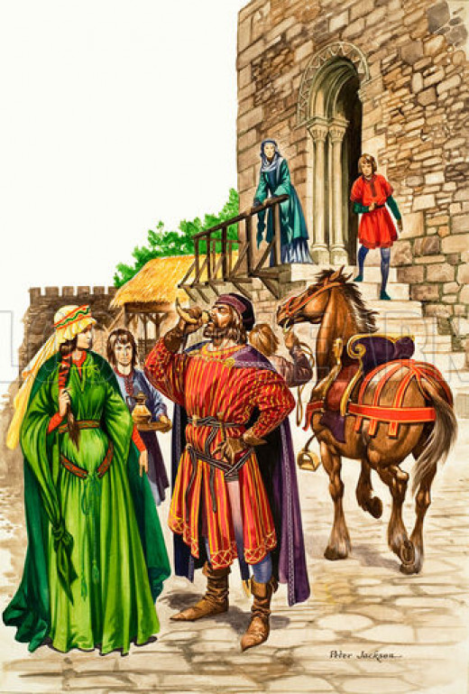 """""""My lords and ladies...!"""" Enjoying the fruits of success, although ostentation was really the Anglo-Saxon game. The Normans had simpler tastes"""