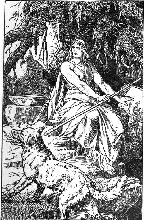 An 1889 illustration by Johannes Gehrts of Hel with her hound Garm at the entrance to her domain of Niflhjem - hall of mists
