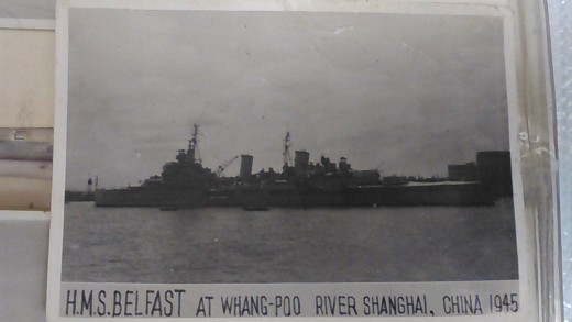 H.M.S. Belfast at Whang-Poo River, Shanghai, China, 1945