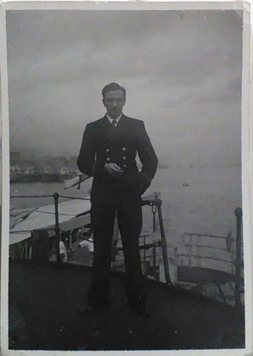 John Geddes, Engineering Officer, Brown Ranger, alongside HMS Bermuda in Hong Kong, April 1946