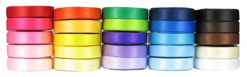 Satin ribbons of multiple colors