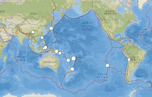 5.8 magnitude or larger worldwide earthquakes for the month of November 2014.