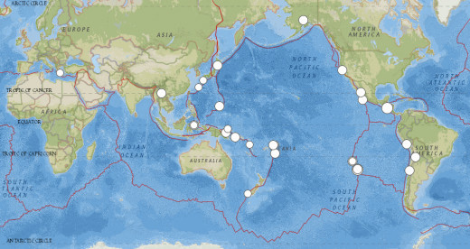 5.8 magnitude or larger worldwide earthquakes from 8/23/14 to 10/28/14.