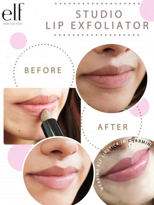 e.lf. Studio Lip Exfoliator before and after.