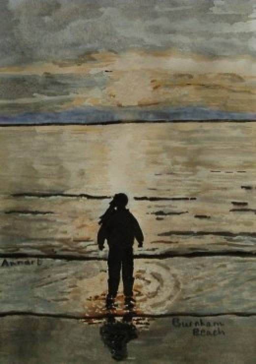 Ann's Painting of her little girl.  Burnham Beach, Somerset