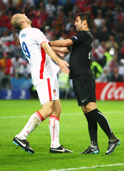 Volkan Demirel shove on Jan Koller proved to be the final act for the Turkish goalkeeper at Euro 2008. He would miss Turkey's knockout matches for the tournament.