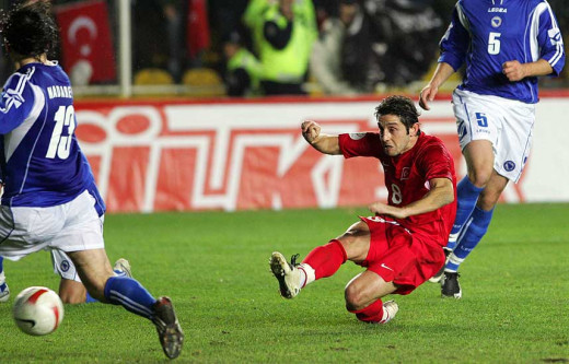 Nihat Kahveci in action in Turkey's final Euro 2008 qualifier against Bosnia-Herzegovina. Kahveci scored the only goal of the match to secure Turkey's qualification to Euro 2008.