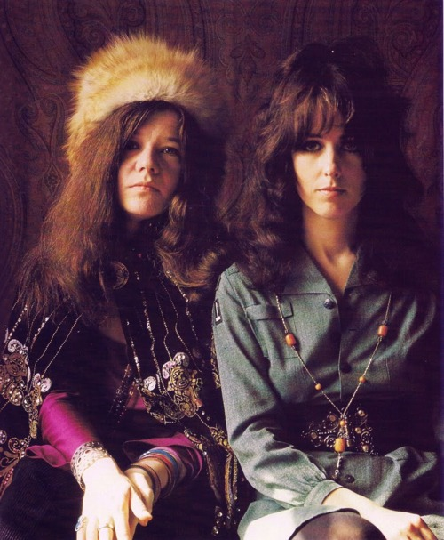 Janis Joplin (left) and Grace Slick in the late 1960s