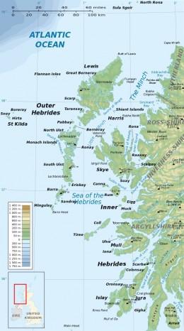 The Hebrides and the Isle of Sky on the northwest coast of Scotland