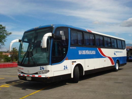 This is the bus you can take going to Penas Blancas from San Jose
