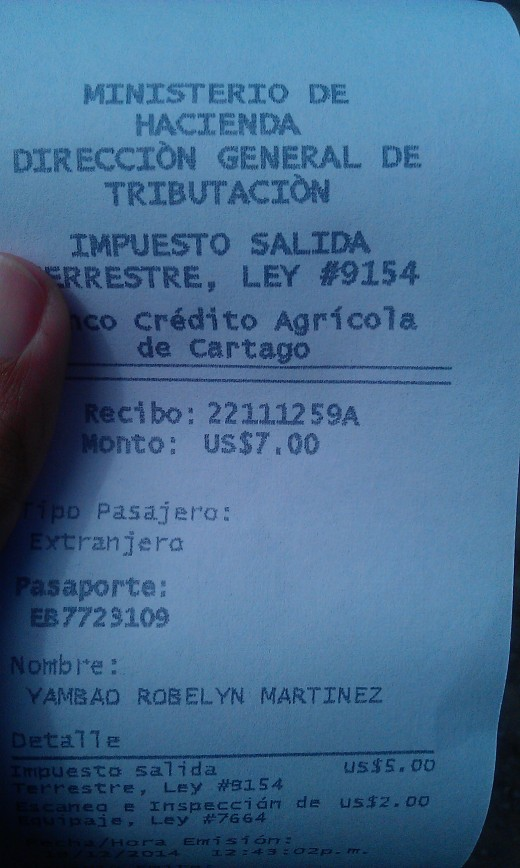 This is my receipt after paying the exit tax of Costa Rica