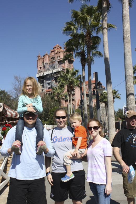 In front of the Tower of Terror... Sweets was about to ride it for the first time! (She's only just turned 5 in this pic)
