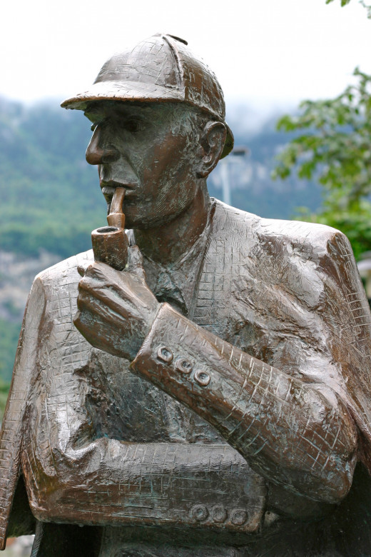 Statue of Sherlock Holmes at Meiringen, Switzerland. Created by British sculptor John Doubleday. Unveiled on the 10th September 1988