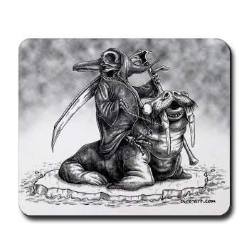 A cross between the grim reaper and a penguin, art taken from - http://gifts.cafepress.com/item/pengrim-reaper-mousepad/65492830