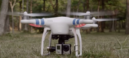 A Phantom 2 with GoPro camera suspended underneath.