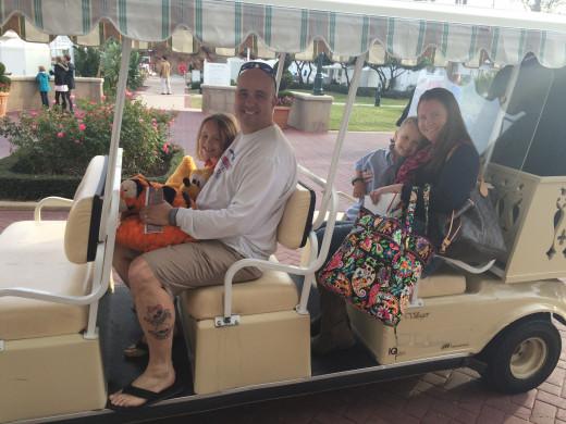 We rode a Disney Golf Cart! So fun!