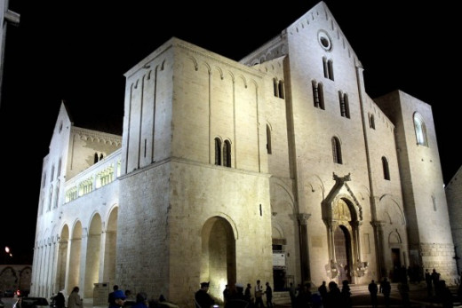 Basilica di San Nicola in Bari, Italy where most of the relics of St. Nicholas are kept today.  Photo source:  Wikipedia