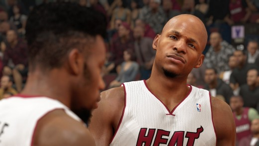 Ray Allen's graphic face when Norris Cole told him that Larry Sanders will try to break his three point record in Milwaukee in NBA 2k15