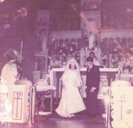 My mother was stunning at just 21 years old; my father, starry-eyed and handsome, was 22.  The following summer, I was baptized here.  I was blessed to wear mom's mantilla veil at my own wedding.