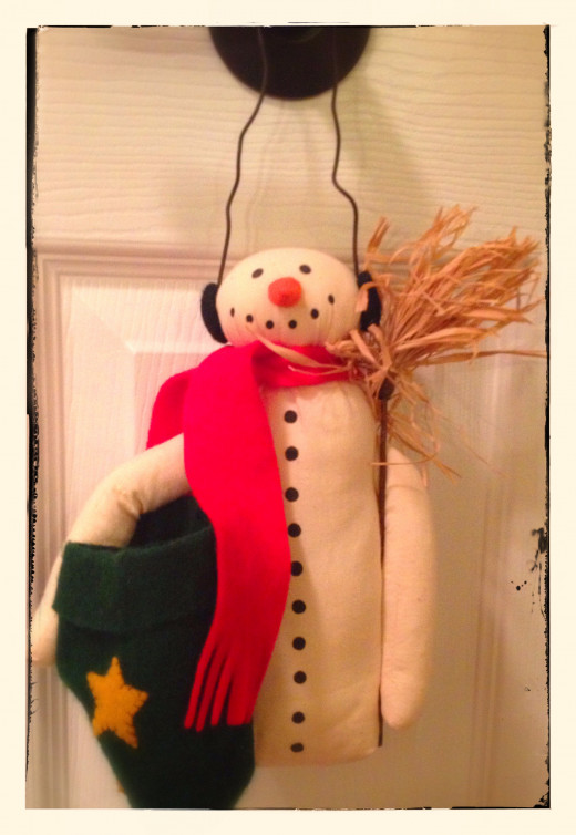 Hanging on a doorknob, snowmen spark joy into any soul.