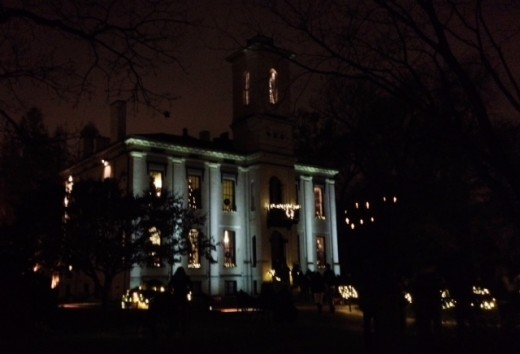 Henry Shaw's Victorian Home, beautifully lit up at night.