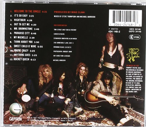 "The back cover for ""Appetite for Destruction."""