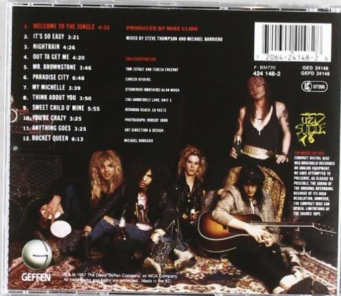 "The back cover for ""Appetite for Destruction."""