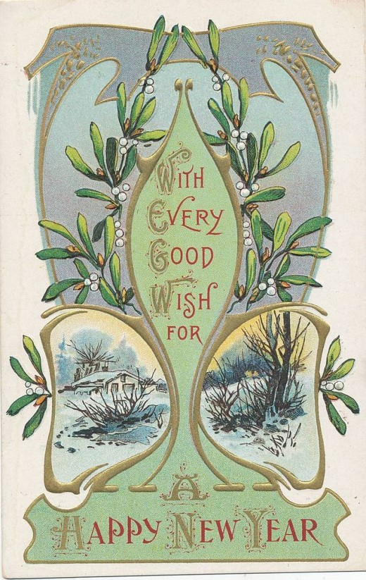 A 1900 Christmas postcard represening mistletloes (Viscum album), one of the several species associated with the celebration of life in winter time.