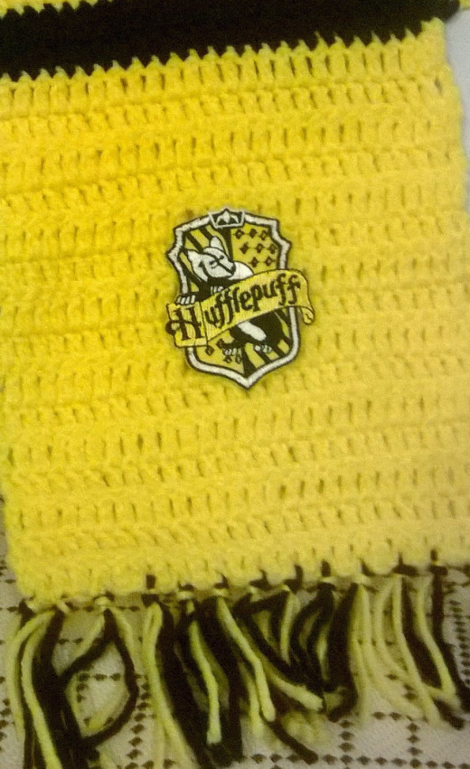 Completed Hufflepuff House scarf with tassels.