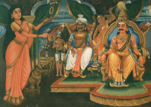 Painting of Kannaki arguing with pandya king