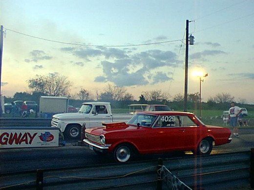 At the starting line of the North Texas Dragway doing a burnout