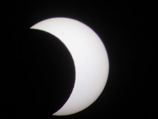 Partial Eclipse: 6:22 PM, faint sunspot visible