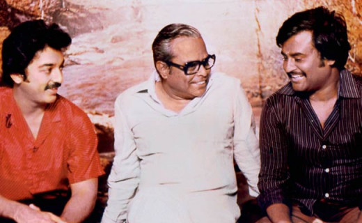 K. Balachander with Kamal Hassan and Rajinikanth