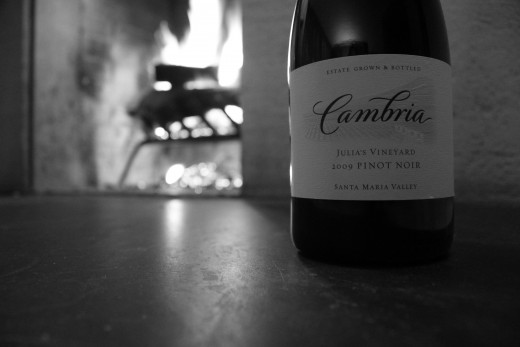Enjoying wine by the fire in our room.
