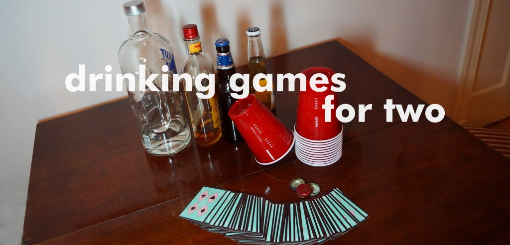 2 person drinking card games with beer