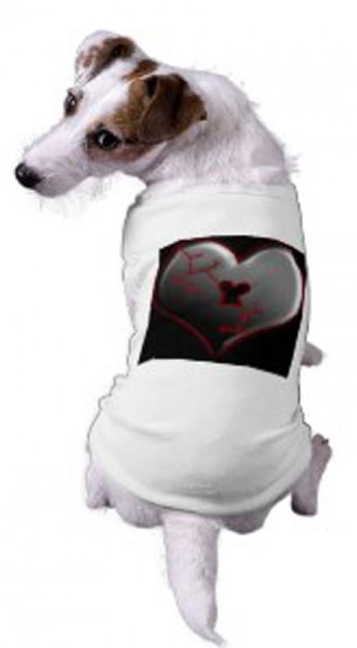 Broken Heart Doggie Tee Shirt by Sandyspider on Zazzle