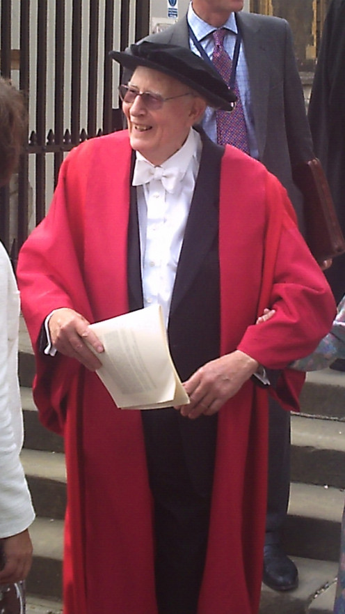 Sir Roger Bannister in full academic dress outside the Sheldonian theatre, University of Oxford, after Encaenia 2009.