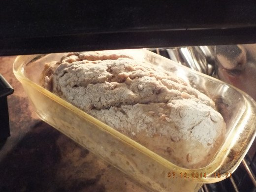 See how the slashes and dough have expanded. In the oven for an hour it goes.