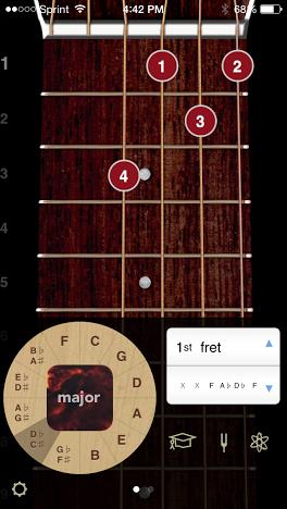 The free version of ChordBank gives you access to major, minor, sixth, and minor sixth chord variations.
