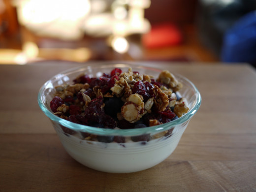 This takes 60 seconds to throw together. Yogurt, granola, whatever berries. Mix.
