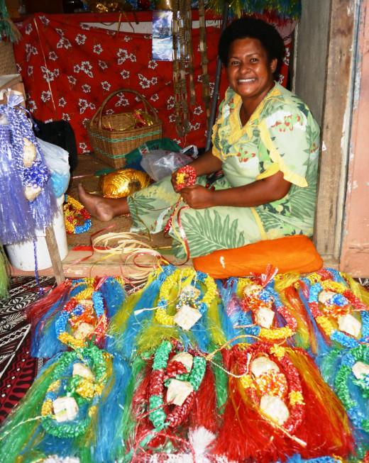 A handicraft seller at Nadi Municipal Market