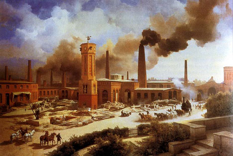 A typical factory of the Industrial Revolution period