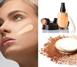 Women with applying foundation on her face
