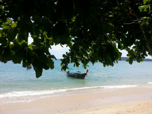 The quite and white sandy beach in Ao Nang