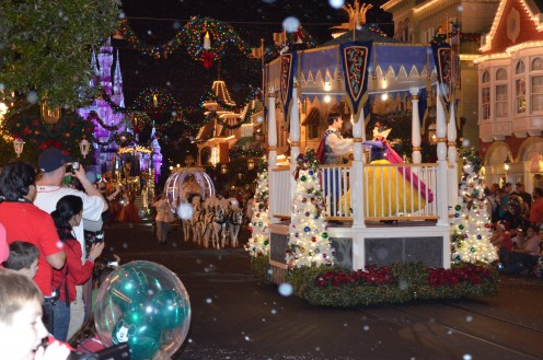 Walt Disney World's The Magic Kingdom stages a holiday parade for guests who buy a party ticket. From 7 p.m. to Midnight, all other guests are gone and only party guests enjoy short lines, cocoa, cookies and Disney magic.