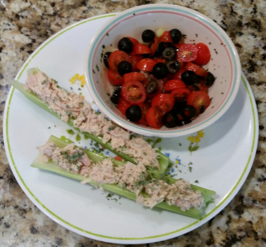Tuna Salad on Celery Sticks