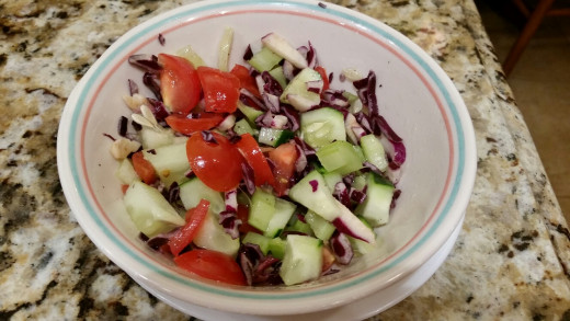 Tomato, Cucumber and Red Cabbage Salad