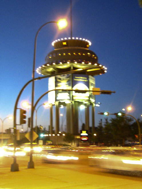 Lethbridge Water Tower at night